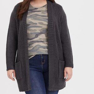 Torrid Grey Pointelle Ribbed Cardigan Sweater 1